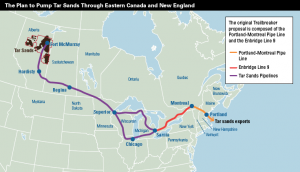 Enbridge's plan to pump tar sands to the east coast.  Pictured in purple in Michigan is Line 5 (through the Great Lakes) and Line 6B (southern Michigan). Photo courtesy of DeSmogBlog.