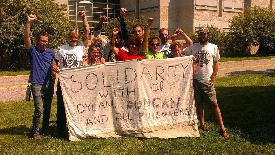 MICATS supporters standing outside of jail waiting for Dylan and Duncan to come out!