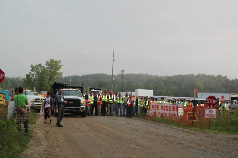 This is what a bottleneck looks like- pipeline workers delayed in getting to their worksites