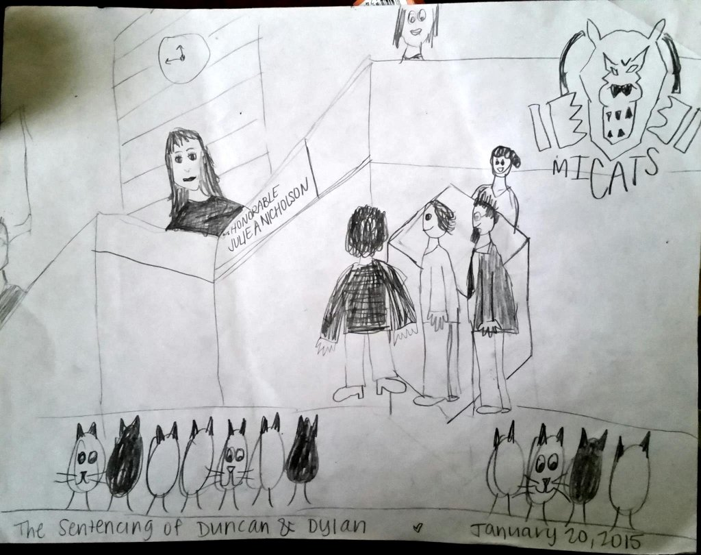"An ""artistic depiction"" of the court proceedings in lieu of a photograph (cameras weren't allowed in the courtroom)."