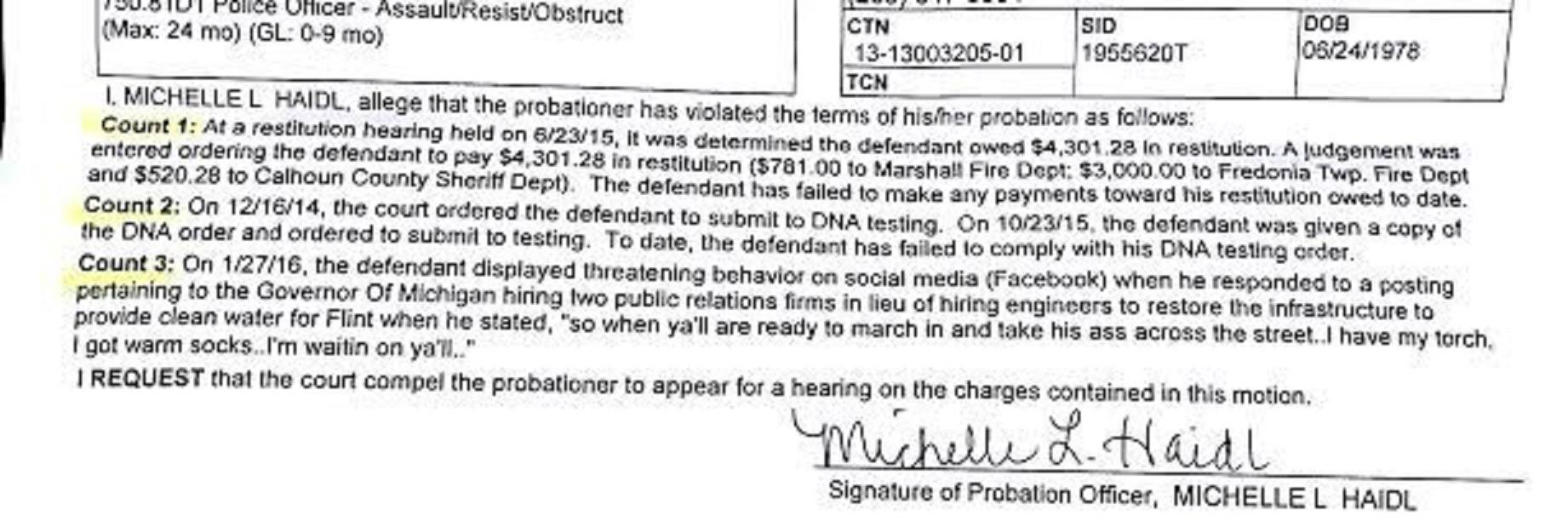 Chris's probation violation letter